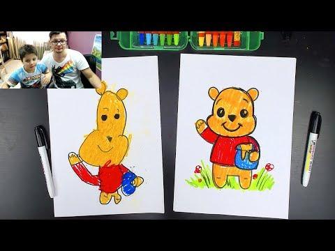 Как нарисовать Винни-Пуха медведя - Урок рисования для детей