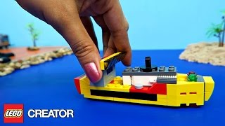 Lego Creator Airplane Helicopter & Cargo Ship with JCB Crane and Kinetic Sand Island