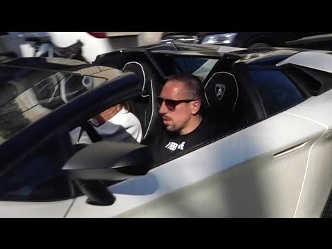 Franck Ribéry driving his new Lamborghini Aventador SV Roadster