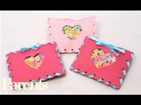 Easy Valentine S Day Craft Sewn Candy Pouches Parents Youtube