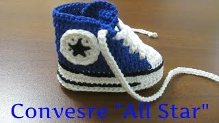 """Tutorial Uncinetto - Scarpine bebe' - Converse """"All Star"""" II Parte #1#"""