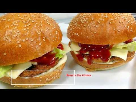 Chicken Burger Recipe - How To Make Chicken Burger Easy Recipe by (HUMA IN THE KITCHEN)