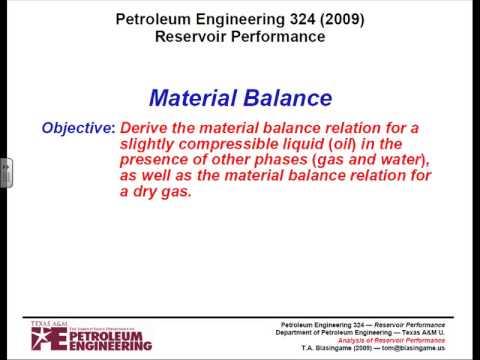 Reservoir performance, Material balance
