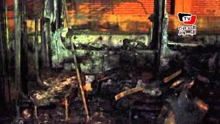 آثار حريق إحدى عربات «ترام الإسكندرية» بـ«فيكتوريا»