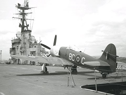 Hawker Sea Fury taxi/take off & HMAS Sydney deck landings