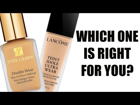 Estee Lauder Double Wear Stay-in-Place Makeup vs  Lancome Teint Idole Ultra  Wear Foundation