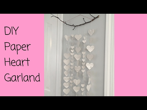EASY DIY Valentine's Day Paper Heart Wall Hanging  (Sew or No-Sew)