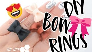 DIY Bow Ring   Easy tutorial - How to make a bow ring using polymer clay