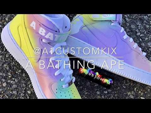 @A1customkix – A bathing ape (custom Air Force ones)
