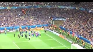 Iceland fans react after victory over England Incredible Viking Chant EURO 2016