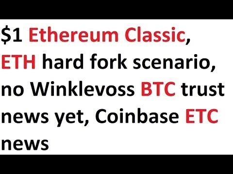 $1 Ethereum Classic, ETH hard fork scenario, no Winklevoss BTC trust news yet, Coinbase ETC news