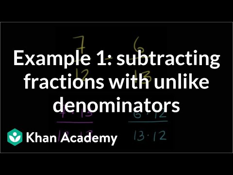 Example Of Subtracting Fractions With Unlike Denominators | Fractions | Pre-Algebra | Khan Academy