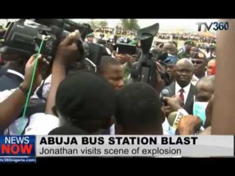 Jonathan at the scene of Abuja bus station bomb blast scene