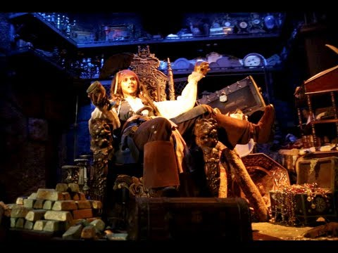 Pirates of the Caribbean (Full Ride and Queue : HD Front Seat POV) - Disneyland CA