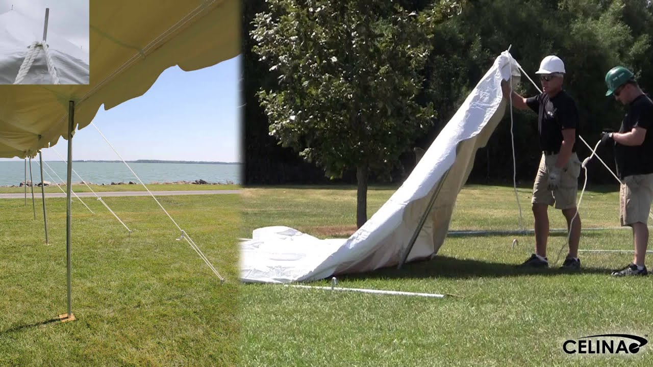 Pole Tent Rope Installation - Tying Ropes to Stakes - YouTube