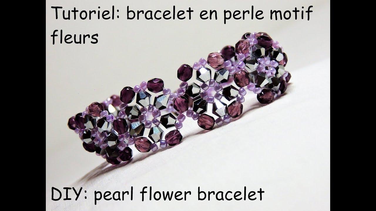 tutoriel: bracelet en perles motif fleurs (DIY: pearls flower bracelet)
