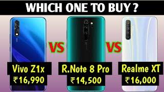 Vivo Z1x VS Redmi Note 8 Pro VS Realme XT Full Details Mobile Comparison, Which is Better Mobile