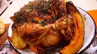 Pollo a la manteca al horno con ensalada tibia de vegetales