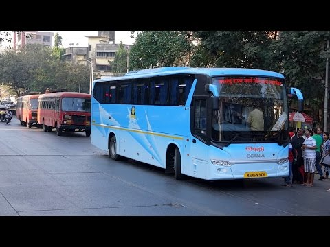 Brand New ! Maiden Run Of Exquisite Hi Tech Scania Bus Of MSRTC & Many Volvo Buses Towing Its Line