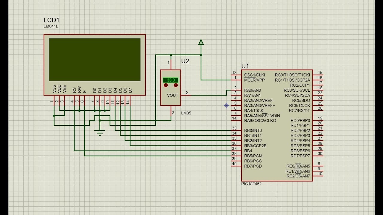 Temperature Sensor Interface To Pic Microcontroller Youtube Using Pic16f877a
