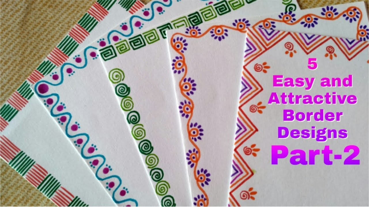 5 easy and attractive border designs for greeting cards part 2 diy