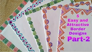 5 Easy and Attractive border designs for greeting cards Part-2 | DIY border designs for Children |