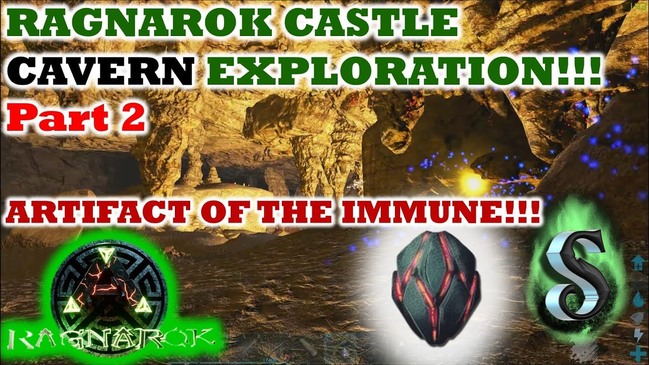 RAGNAROK CASTLE CAVERN EXPLORATION - ROUND 2 - ARTIFACT OF THE IMMUNE  LOCATION!!! ARK 2017