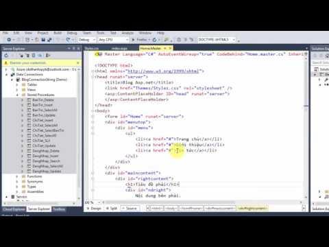 Bài 4. Lập trình CSDL Sql Server với Asp Net kết nối và đưa dữ liệu vào Menutop