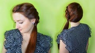 Falbanka z włosów - prosta plecionka    (baza pod kucyk, kok, warkocz)