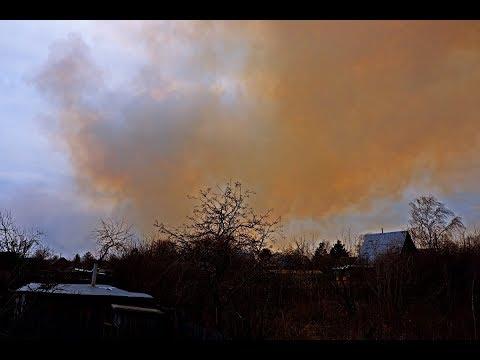 За Тоболом горят сады (или, трава за ними). Курган в дыму. 04.05.2019 г.