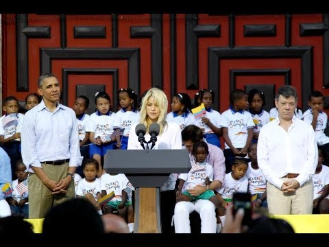 Presidents Obama and Santos and Shakira speak at Summit of the Americas
