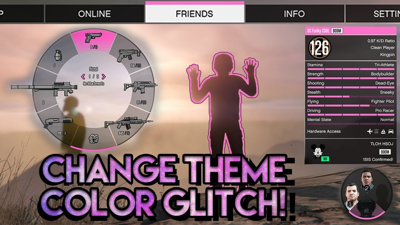 Online eye color changer -  New Change Theme Color Glitch Pink Weapon Wheel Easy Gta Online 1 41