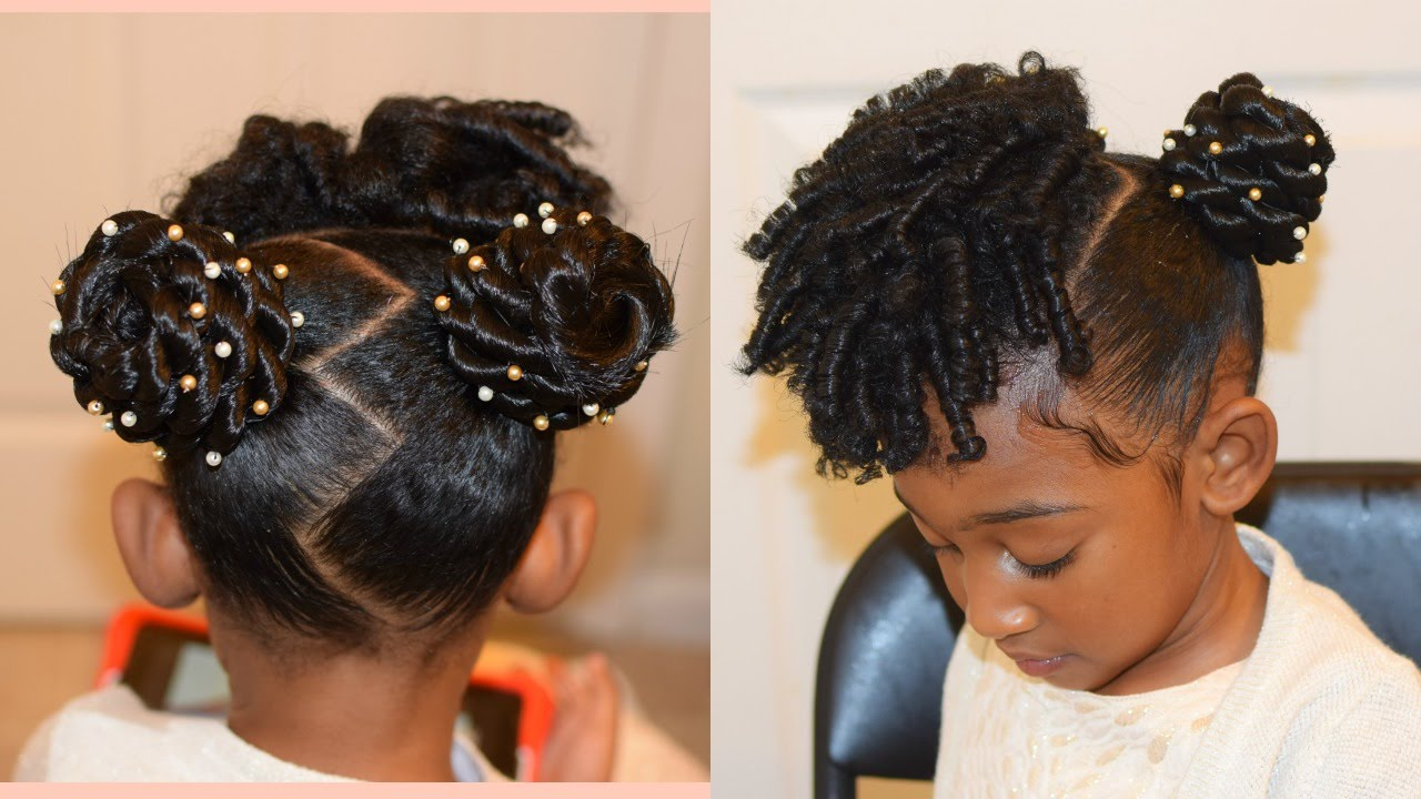 kids natural hairstyles: the buns and curls (easter hairstyle)