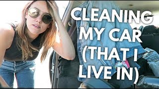 ORGANIZING + CLEANING MY CAR (THAT I LIVE IN) | Katie Carney
