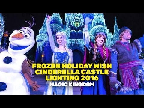 Frozen Holiday Wish Cinderella Castle Lighting 2016 (Magic Kingdom)