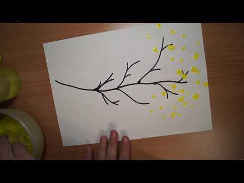 Рисуем дерево с помощью пластиковой бутылки.