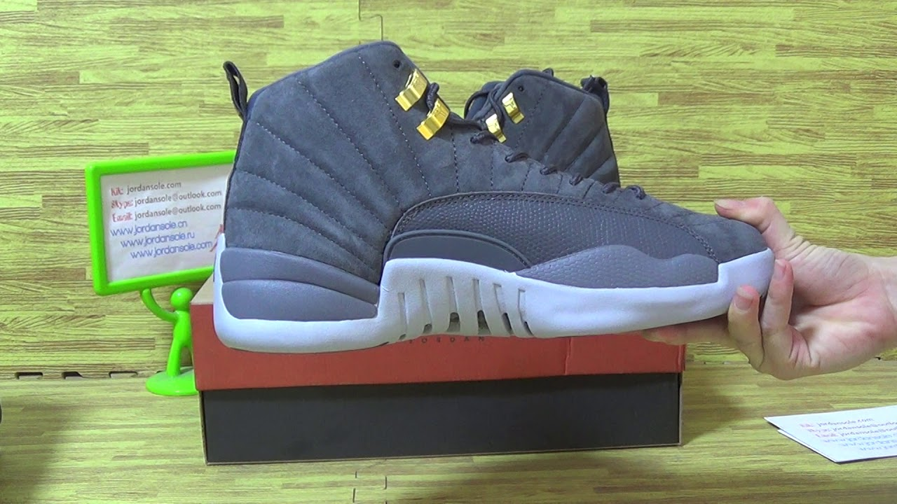 32e528c7bbc Authentic Air Jordan 12 Grey Suede from jordansole - YouTube