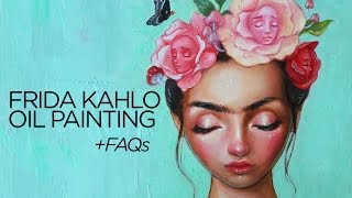 HOW TO OVERCOME ART BLOCK || Oil painting of Frida Kahlo time lapse