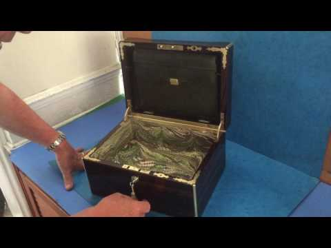 Antique Coromandel and brass bound Jewellery Box For Sale Online
