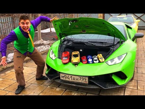 Mr. Joe on Chevrolet Camaro VS Lamborghini Huracan with Toy Cars in Trunk & Started Race for Kids
