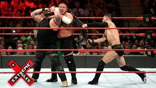 Finn Blor levels Bray Wyatt and Samoa Joe with a steel chair WWE Extreme Rules 2017 WWE Network Finn Blor Samoa Joe Bray Wyatt Roman Reigns and Seth Rollins battle in a historic Extreme Rules Fatal 5Way Match to see who will challenge Brock ...