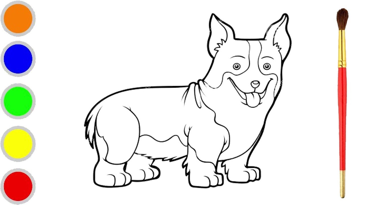 - How To Draw Dog Step By Step, Dog Corgi Coloring Pages For Kids