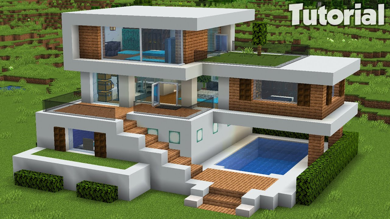Minecraft: How to Build a Large Modern House Tutorial (Easy) #32 +Interior In Desc
