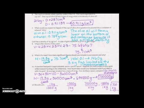 Unit 1 worksheet 4 applied density problems answer key