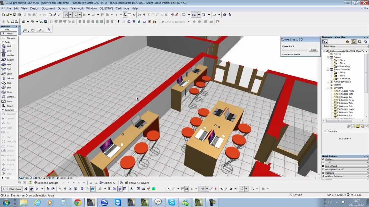 Crear documento 3d planta 3d en archicad youtube for Hacer planos 3d