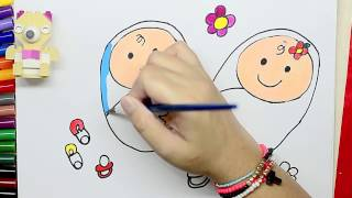 Coloring Page Coloring Happy Baby Learn How To Draw Twin Baby And Coloring