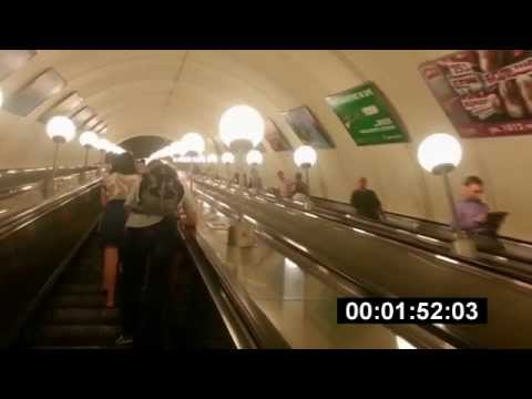 Park Pobedy Subway Station, Moscow, Russia (longest escalators in Europe)