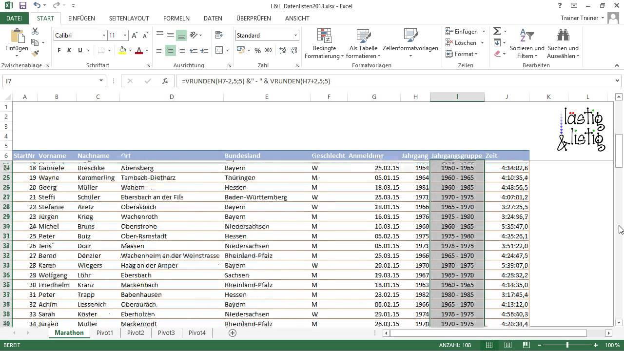 Excel 2013: Datenanalyse Tutorial: Jahrgangsgruppen bilden ...
