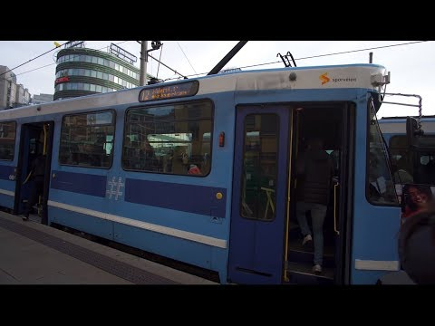 Norway, Oslo, ride with tram No 12 from Jernbanetorget to Aker Brygge