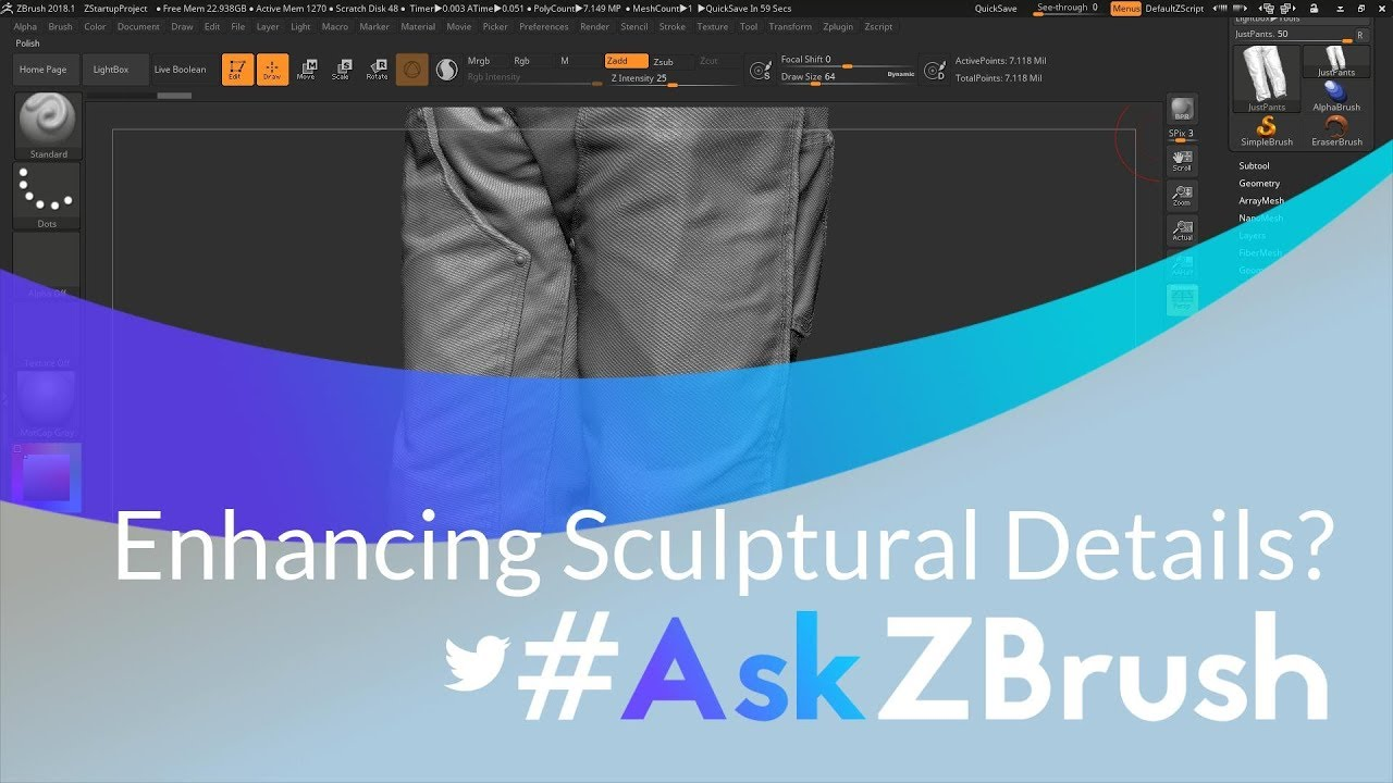 """#AskZBrush: """"Are there any tricks to increase or enhance surface details on a model?"""""""